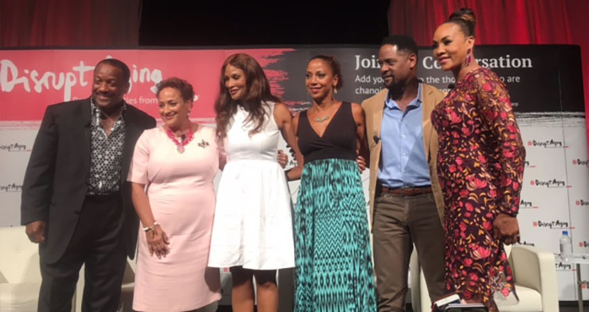 Photo of Donnie with Blair Underwood, Vivica A. Fox, Holly Robinson Peete, AARP CEO, Jo Ann Jenkins, and super model, Beverly Johnson at Fearless and Fabulous AARP event.