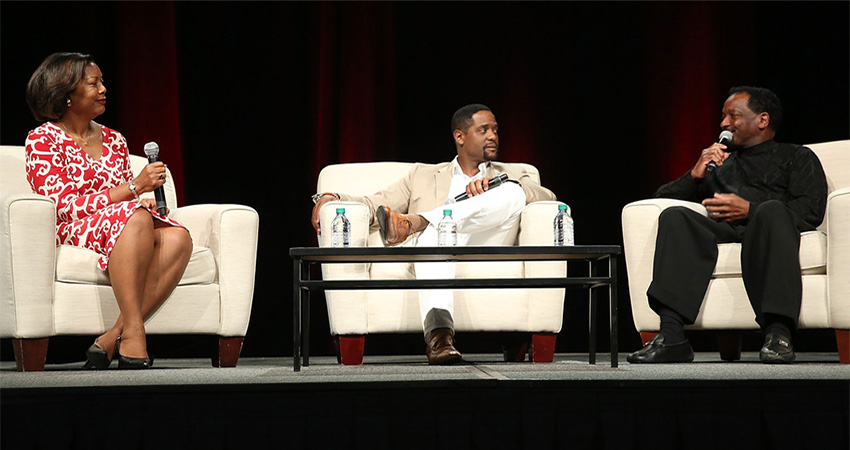 Photo of Edna Kane-Williams, Blair Underwood and Donnie Simpson attend 'A Conversation about Hollywood, Radio and Fame' at the AARP Life@50+ Expo at the Miami Beach Convention Center on May 15, 2015 in Miami Beach, Florida.
