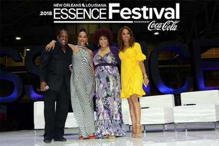 Donnie Simpson with Vivica A. Fox, Kim Coles and Holly Robinson Peete at the 2018 Essence Festival